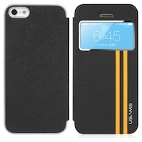 Coque de Protection Cuir USAMS Jazz pour Apple iPhone 5:5S (Noir)