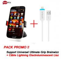 Offre Eclair  Support Voiture Brainwizz Ultimate Grip + Câble de Recharge et Synchronisation Lightning LeTouch Liez - Sortie Lumineuse logo