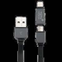 Câble Plat de Recharge et Synchronisation 2 en 1 TOTU Perfect Buddy (Micro USB et Apple Lightning) logo