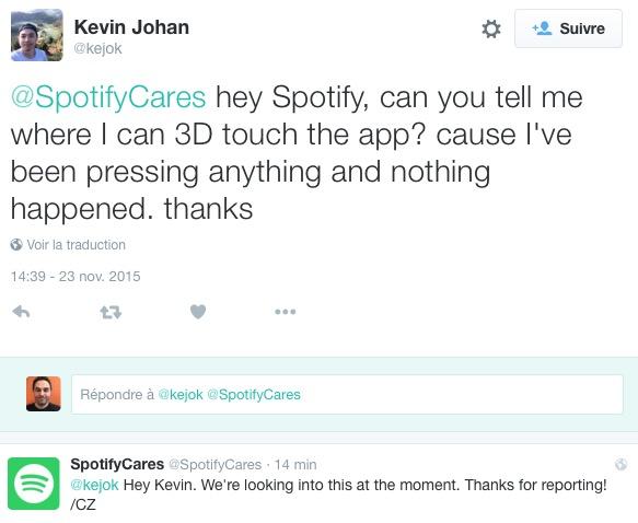 spotify 3D touch non Spotify, ou le lancement raté des fonctions 3D Touch