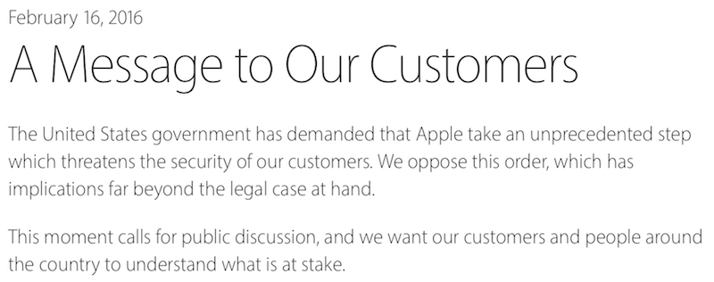 a message to customers Le FBI force Apple à débloquer liPhone dun meurtrier, Tim Cook sy oppose