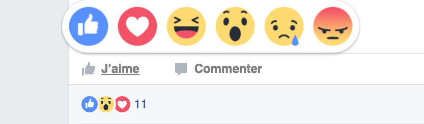 reactions facebook La mention « jaime » perd son monopole sur Facebook