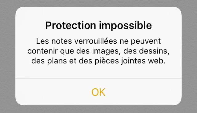 alerte note non verrouillable Astuce : comment sécuriser vos notes avec iOS 9.3