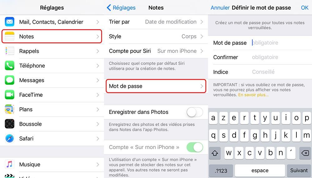 notes reglages mot de passe touch id Astuce : comment sécuriser vos notes avec iOS 9.3