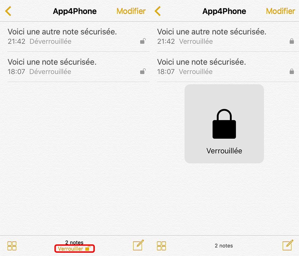 verrouillage note ios multiple Astuce : comment sécuriser vos notes avec iOS 9.3