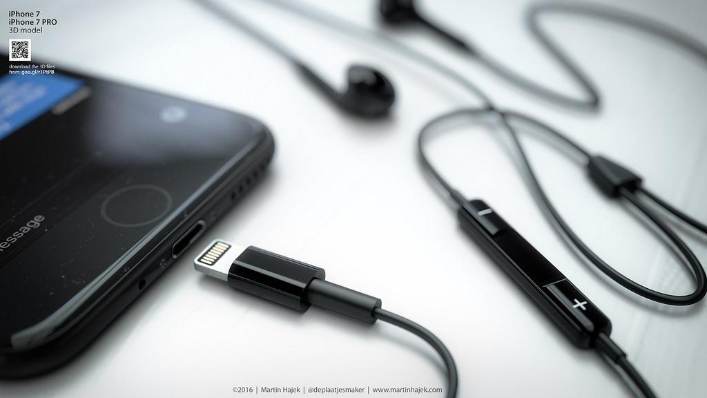 concept earpods lightning black martin hajek Concept : liPhone 7 noir avec bouton Home tactile de Martin Hajek