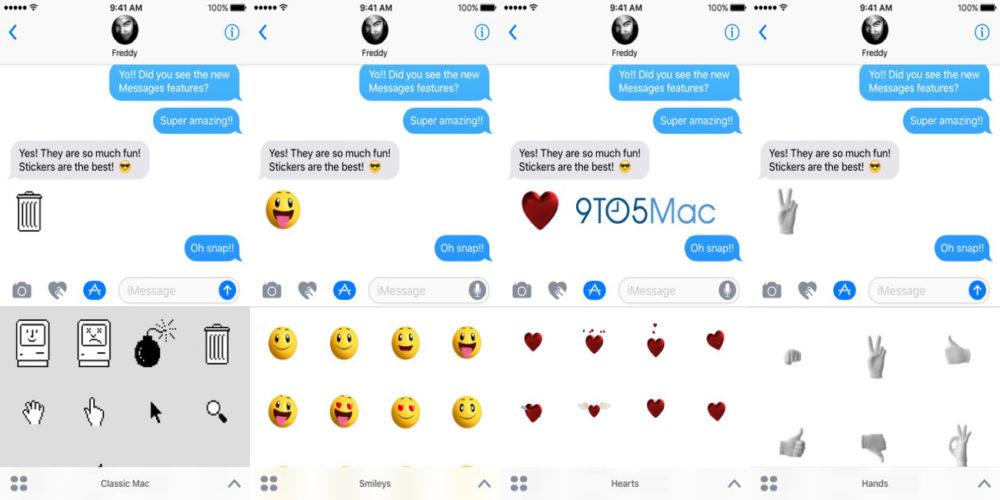 ios 10 stickers e1467535931675 iMessages : Apple propose 4 packs de stickers animés iOS 10 !