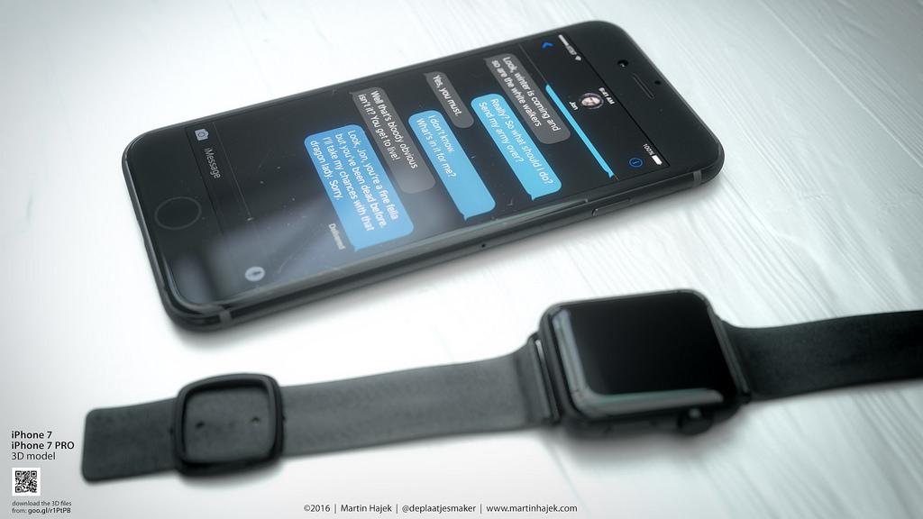iphone 7 concept apple watch martin hajek Concept : liPhone 7 noir avec bouton Home tactile de Martin Hajek