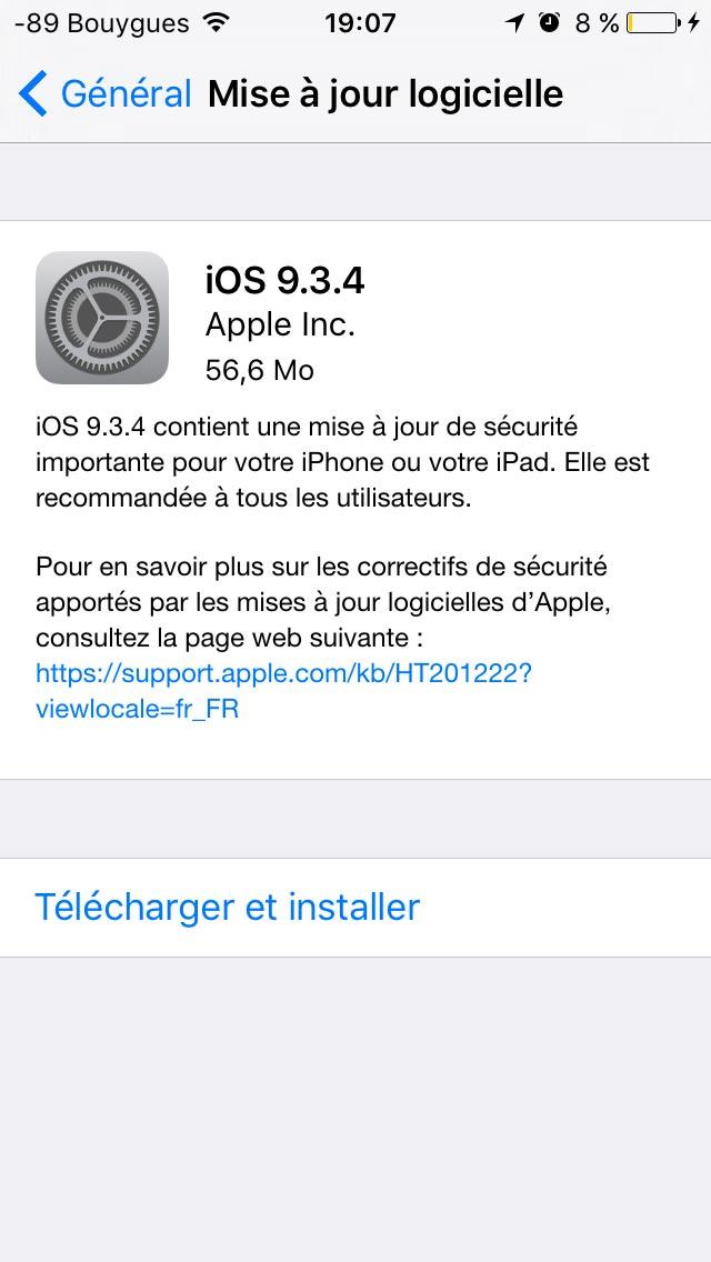 ios934 La mise à jour iOS 9.3.4 est disponible !