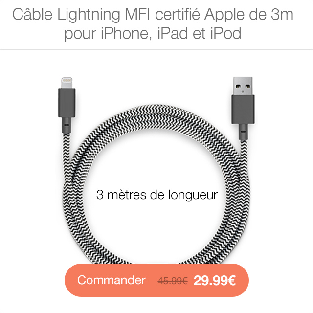 cable lightning CYBER MONDAY 24h sur la boutique App4Shop (jusquà  50%)