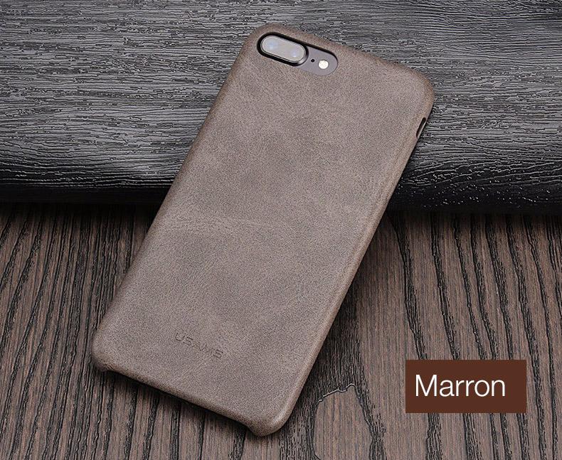 marron Coque en cuir pour iPhone 7 et 7 Plus (App4Shop)