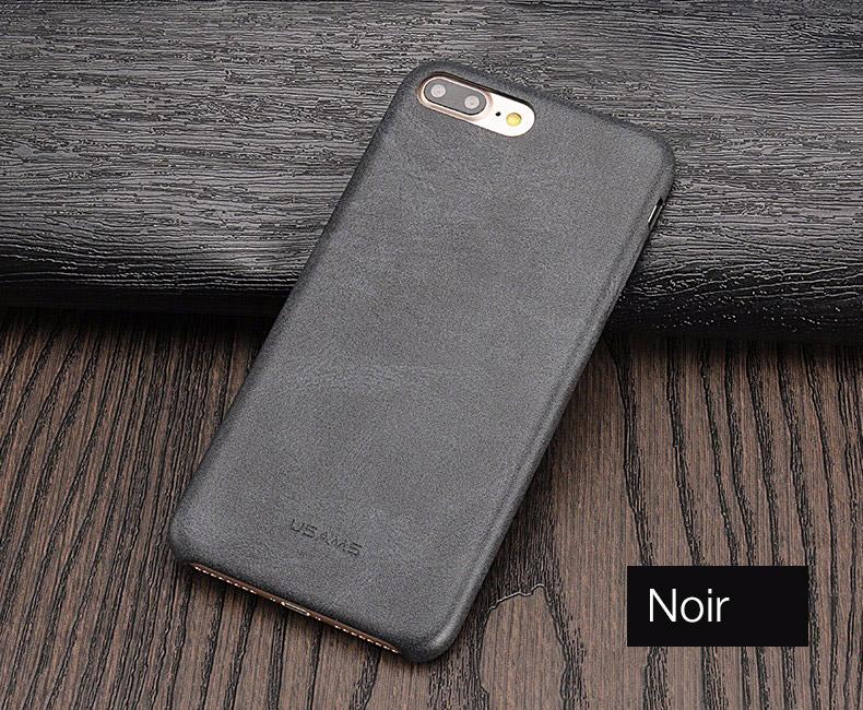 noir Coque en cuir pour iPhone 7 et 7 Plus (App4Shop)