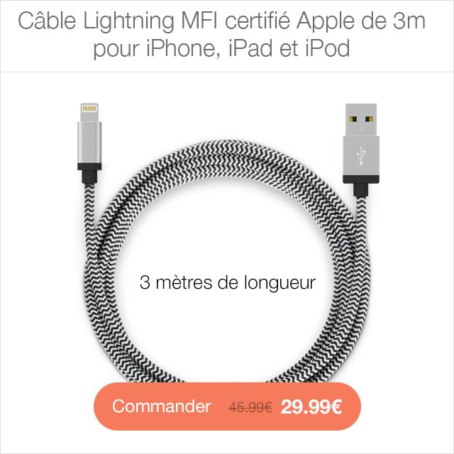 cable 3m Protection décran iPhone 7 / 7 Plus intégrale 3D incurvée (App4Shop)