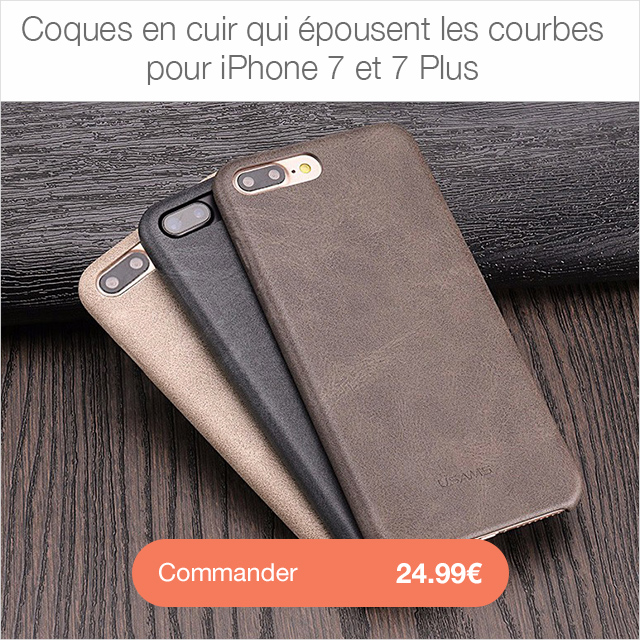 coque cuir 1 Sky Clear : Coque iPhone 7 & 7 Plus, super fine avec protection décran
