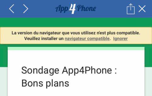 erreur app4phone 500x317 Sondage : quel type dapplications souhaitez vous voir dans les Bons plans dApp4Phone ?