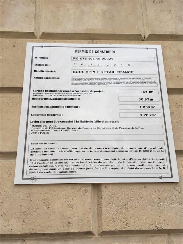permis consture apple store champs elysees 19.09.13 Champs Élysées : Apple a obtenu le permis de construire dun Apple Store