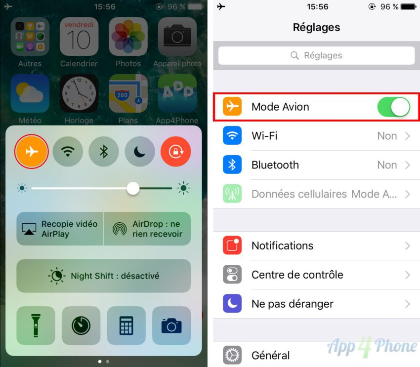 mode avion screen Astuce : comment charger son iPhone plus vite