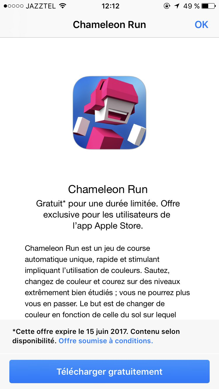 IMG 0255 Bon plan   Chameleon Run gratuit sur lApple Store