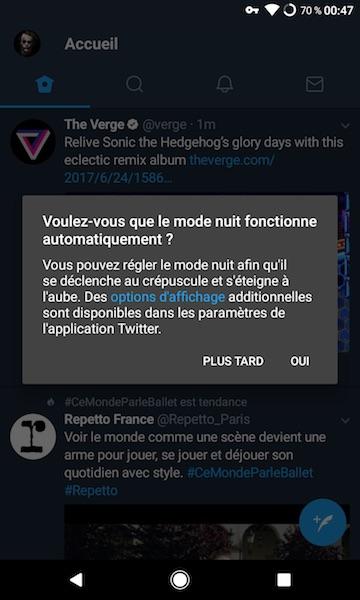 twitter sur android mode nuit automatique Twitter sur Android se met à jour pour supporter lactivation automatique du mode nuit