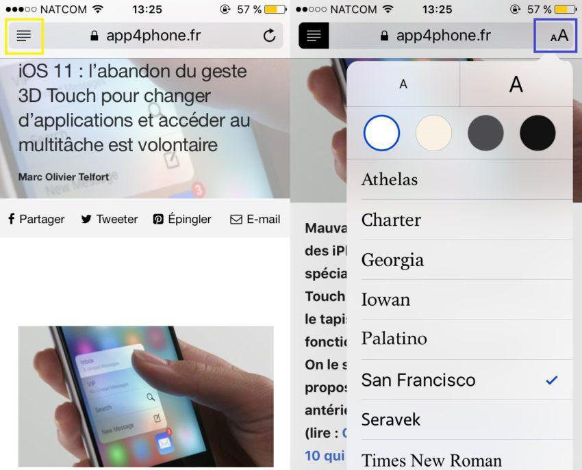 astuces safari app4phone changer police 850x687 Safari : 10 astuces pour vous aider à mieux naviguer sur le web