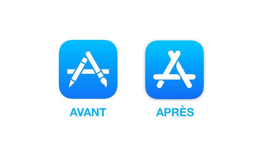 ancienne nouvelle Apple App Store icon iOS 11 : les icônes de lApp Store, Plans et Horloge mises à jour
