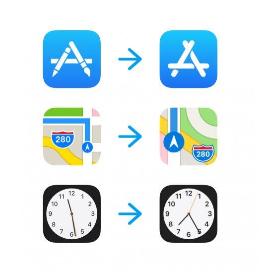 plans horloge app store ios11 icones iOS 11 : les icônes de lApp Store, Plans et Horloge mises à jour