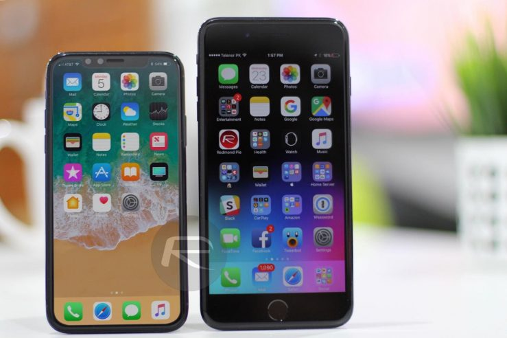 Maquette iPhone 8 vs iPhone 7 Plus L'écran de liPhone 8 comparé à celui de liPhone 7 Plus et les autres modèles