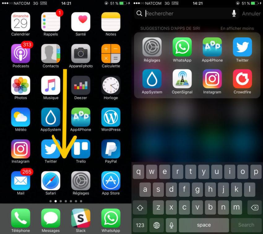 Spotlight Activation 850x756 Astuce pour convertir des devises et des unités avec Spotlight sur iPhone