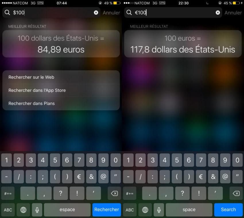 Spotlight Devises 100 US 850x757 Astuce pour convertir des devises et des unités avec Spotlight sur iPhone