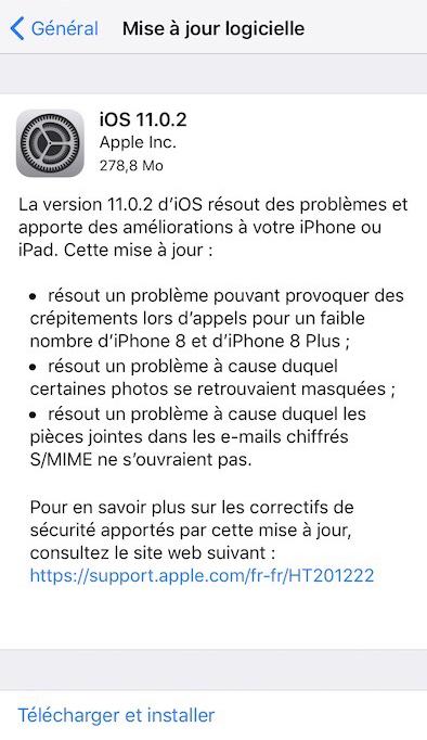iOS 11 changelog iOS 11.0.2 est disponible pour iPhone, iPad et iPod touch