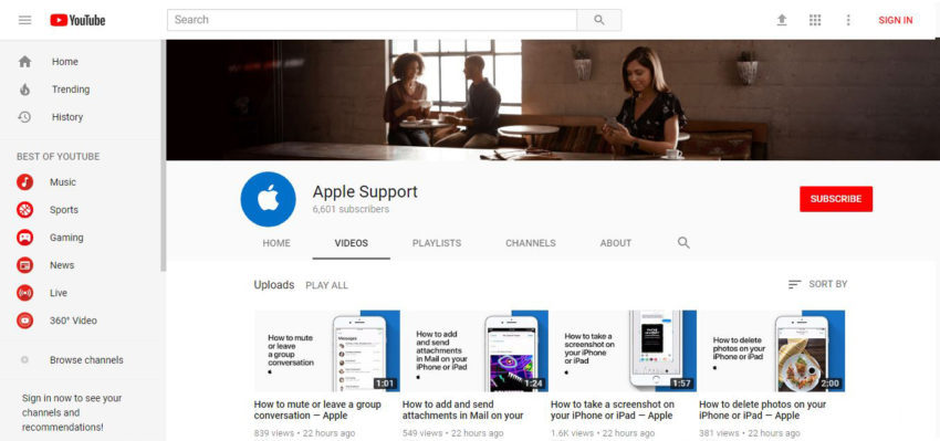 Apple Support YouTube 850x399 Apple Support : la nouvelle chaîne YouTube dApple réservée aux tutoriels
