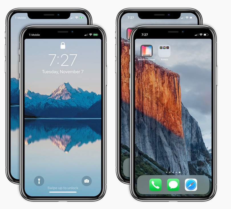 masquer l'encoche de l'écran de l'iPhone X