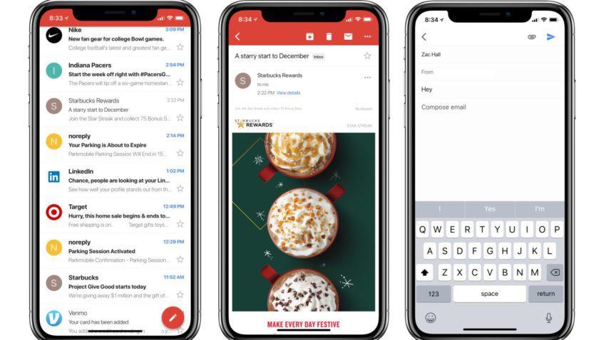 Gmail iPhone X 850x478 Lapplication Gmail se met à jour pour supporter liPhone X et lajout d'autres comptes emails