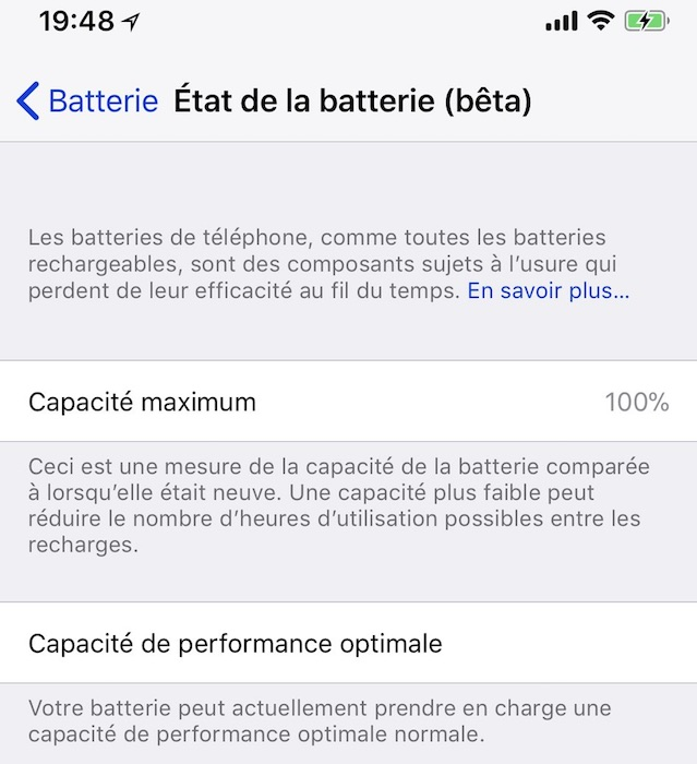 batterie de l'iPhone