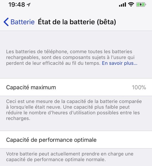 iOS 11 3 Beta 2 Etat de Batterie iPhone iOS 11.3 bêta 2 propose de voir l'état de santé de la batterie de liPhone