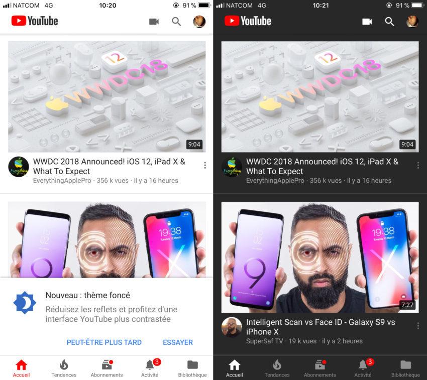 Activation Mode Nuit YouTube 850x757 Youtube iOS : le mode nuit désormais disponible pour tout le monde