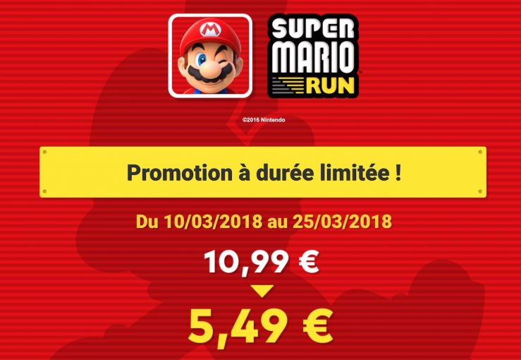 Super Mario Run Promo Super Mario Run : un rabais de 50% sur lachat in app durant 15 jours