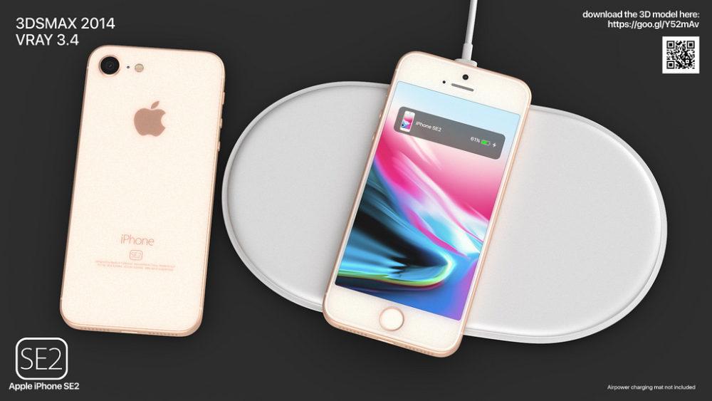iPhone SE 2 Concept Recharge Sans Fil 1000x563 iPhone SE 2 : pas de prise Jack, Touch ID et une puissance digne de l'iPhone 7 ?