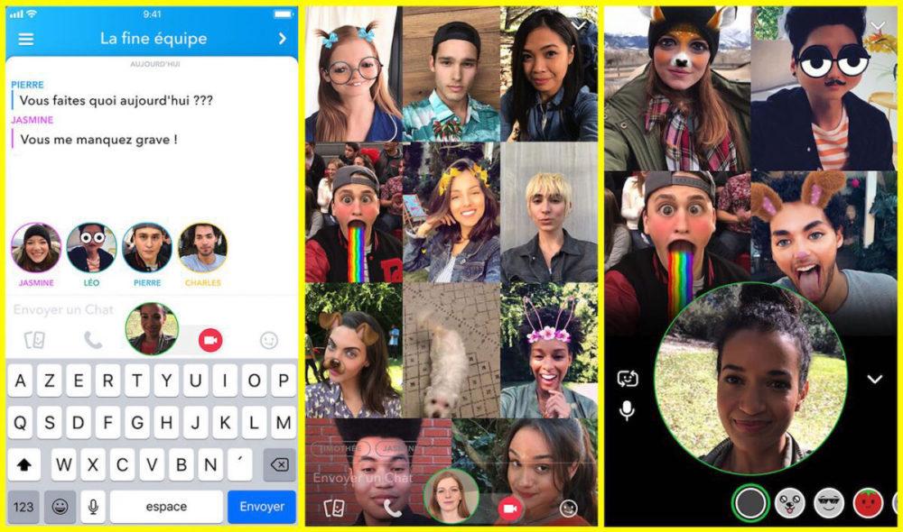 Snapchat Appel Video 1000x590 Snapchat supporte désormais les appels vidéos de groupe et la mention dans une Story