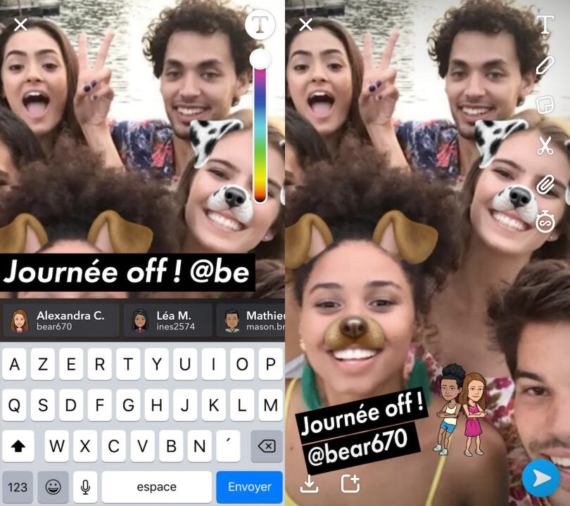 Snapchat Mention Snapchat supporte désormais les appels vidéos de groupe et la mention dans une Story