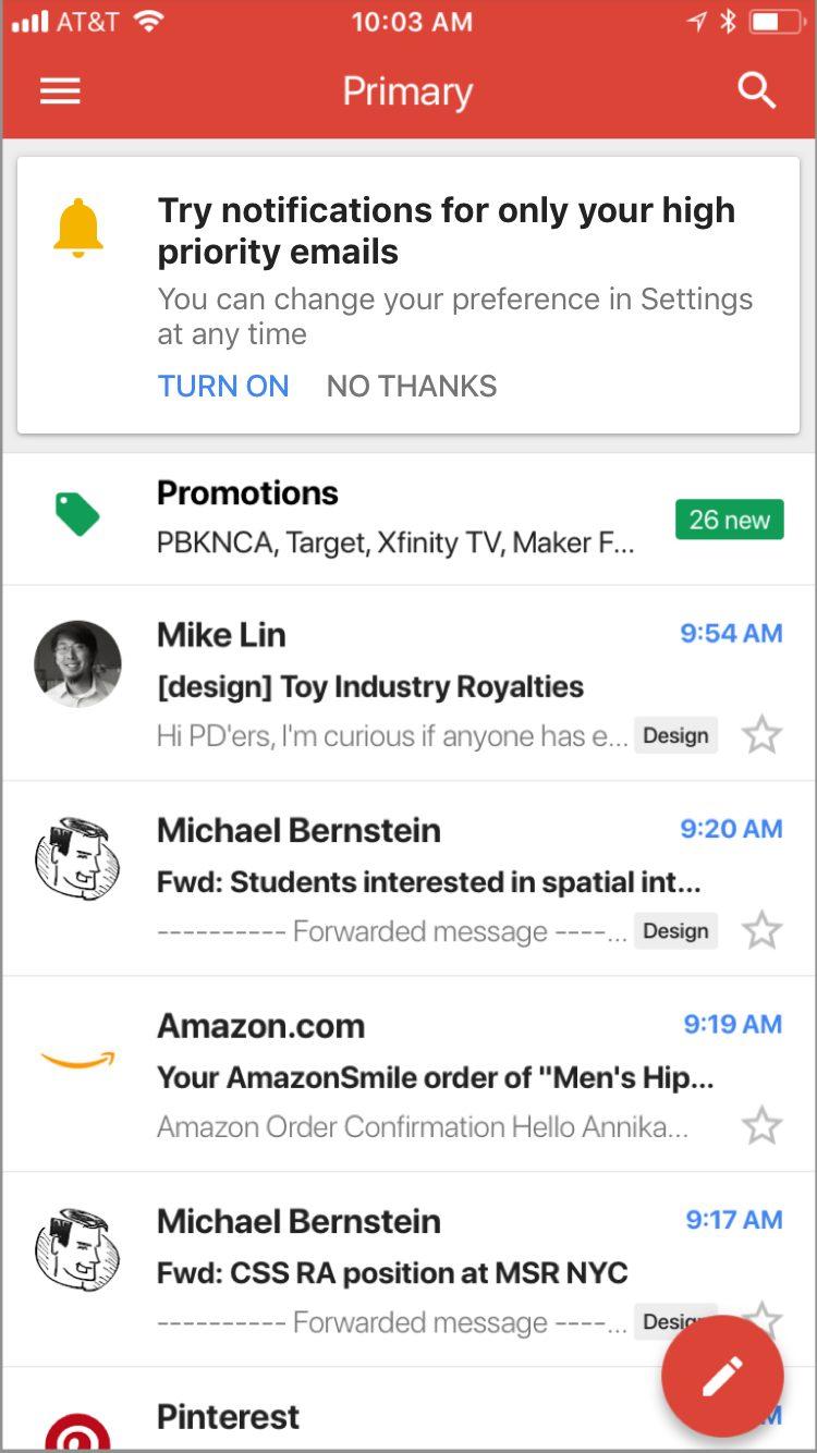 Gmail Notifications Intelligentes Gmail sur iOS utilise l'intelligence artificielle pour envoyer les notifications des mails importants