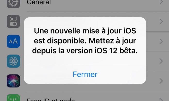 iOS12 fausse mise a jour iOS 12 bêta 12 disponible : correction dun bug invitant à mettre à jour l'OS