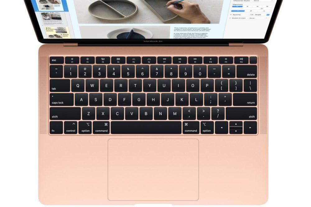 MacBook Air 2018 Clavier 1000x664 Apple annonce le nouveau MacBook Air 2018 : écran Retina, USB C, Touch ID et plus