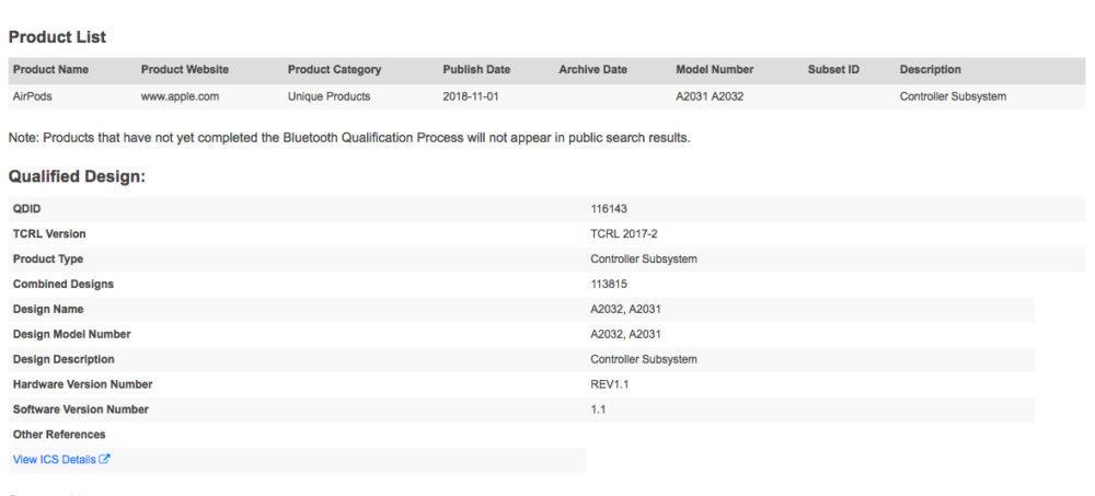 AIrPods Bluetooth SIG 1000x453 De nouveaux AirPods repérés dans les bases de données du Bluetooth