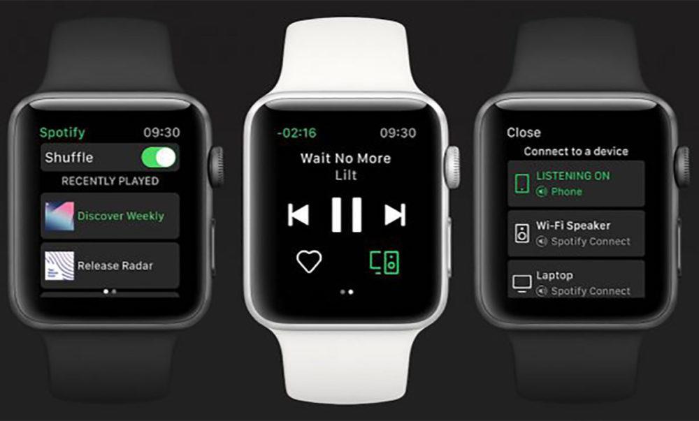 App Spotify Apple Watch Officiel 1000x603 Lapplication Spotify pour Apple Watch est désormais disponible