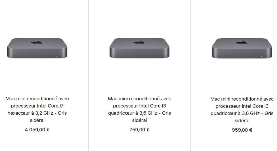 Mac mini 2018 Reconditionne Apple propose à la vente des Mac mini et MacBook Air 2018 reconditionnés