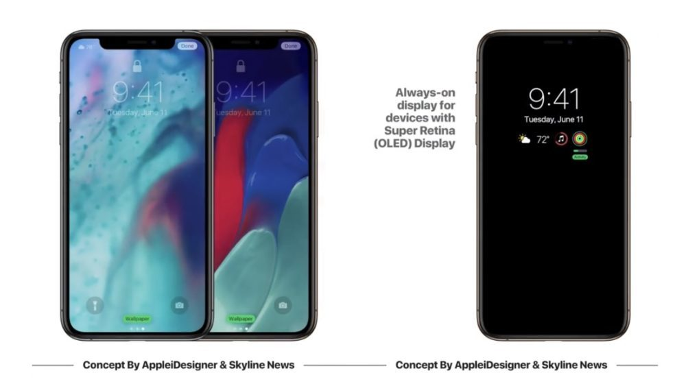 iOS 13 Concept Always On 1000x563 Un concept iOS 13 imagine un mode nuit, Siri moins intrusif, support de souris sur iPad et plus