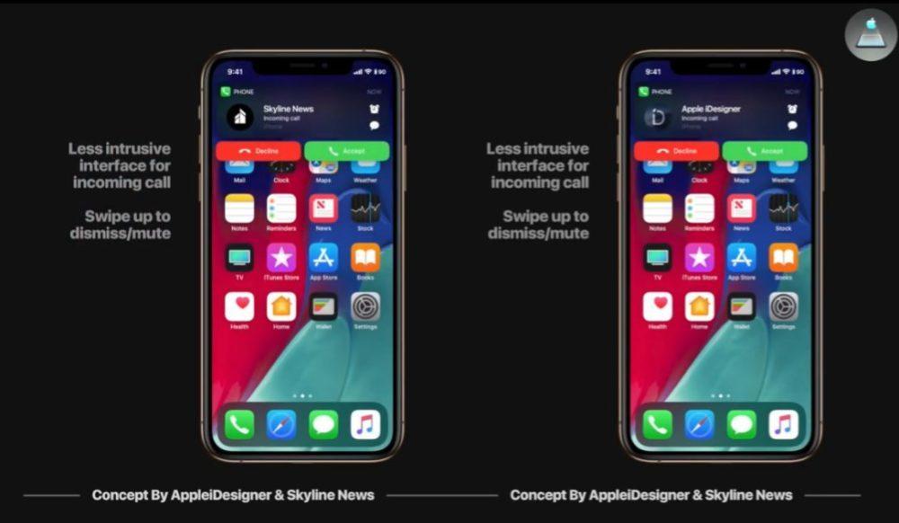 iOS 13 Concept Appels Entrants 1000x582 Un concept iOS 13 imagine un mode nuit, Siri moins intrusif, support de souris sur iPad et plus
