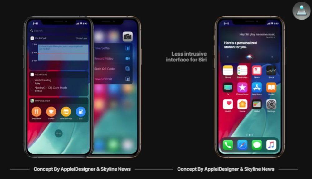 iOS 13 Concept Siri 1000x574 Un concept iOS 13 imagine un mode nuit, Siri moins intrusif, support de souris sur iPad et plus