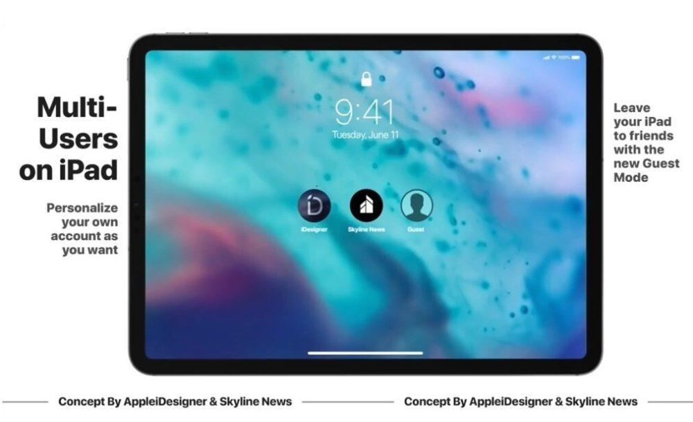 iOS 13 Concept iPad Multi Users 1000x610 Un concept iOS 13 imagine un mode nuit, Siri moins intrusif, support de souris sur iPad et plus